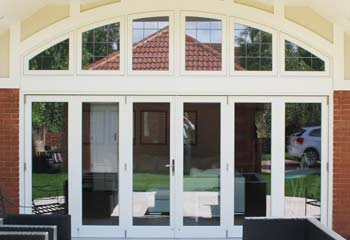 6 Leaf Bifold Doors with Leaded Top Lights