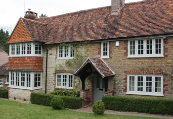 Replacement and new Flush timber casement windows and doors for this 1920's cottage in Leigh, Surrey Hills