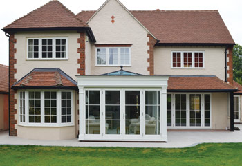Recessed Edwardian Slimline Casement windows and French Doors for this Cottage extension in Dunsfold, Surrey