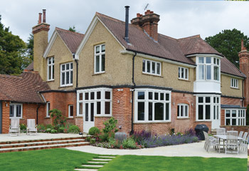 Replacement & new Recessed Edwardian timber casement windows with unique leaded lights pattern for this stately Country Home in Westerham, Kent