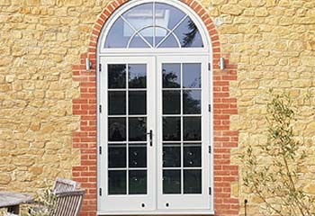 French Doors with Sidelights in French Grey